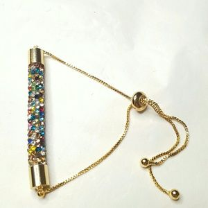 Adjustable Multicolored Crystal Bracelet
